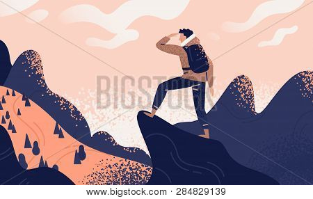 poster of Man with backpack, traveller or explorer standing on top of mountain or cliff and looking on valley. Concept of discovery, exploration, hiking, adventure tourism and travel. Flat vector illustration.
