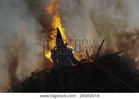 Skt Hans in Denmark. The witch is burned at midsummer whising her a pleasent trip to Bloksbjerg / Brocken (D) poster