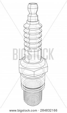 Vector Spark Plug Concept. Vector Rendering Of 3d. Wire-frame Style. The Layers Of Visible And Invis