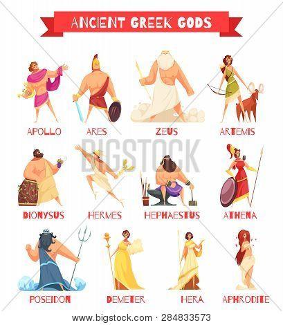 Ancient Greek Gods 12 Strip Cartoon Figures Set With Zeus Poseidon Hera Hermes Athena Isolated Vecto