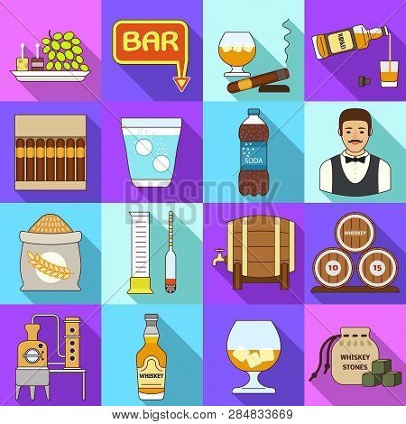 Whisky Icons Set. Flat Set Of Whisky Vector Icons For Web Design