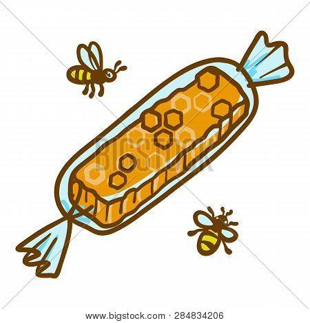 Honey Bonbon Icon. Hand Drawn Illustration Of Honey Bonbon Vector Icon For Web Design