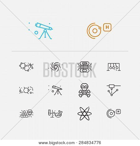 Science Icons Set. Nanotechnology And Science Icons With Black Hole, Danger And Newtons Cradle. Set