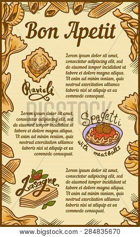 Bon Appetit Ravioli Lasagne Concept Banner. Hand Drawn Illustration Of Bon Appetit Ravioli Lasagne V