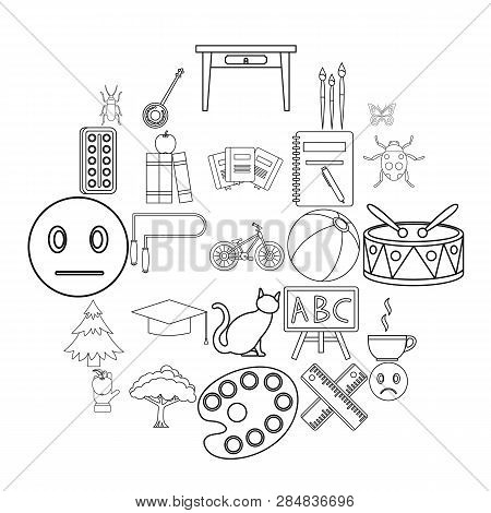 Literate Icons Set. Outline Set Of 25 Literate Vector Icons For Web Isolated On White Background