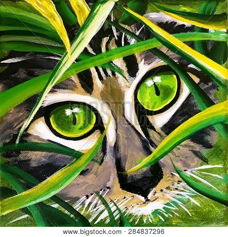 Acrylic Painting On Canvas Of Cat In The Garden