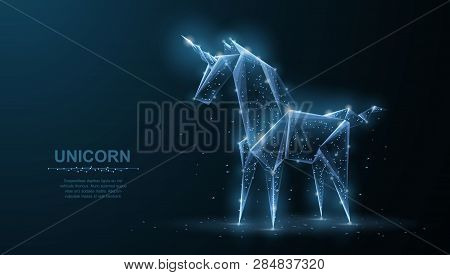 Unicorn. Abstract Vector Origami Paper Unicorn Isoleted On Blue. Magic, Fantasy, Horse, Dream, Mirac