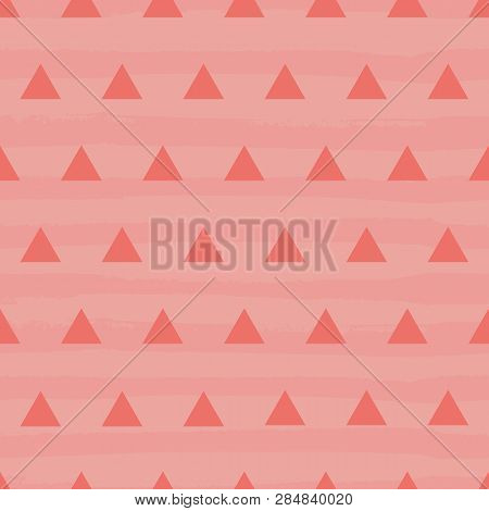Vibrant Coral And Pink Textured Triangle Design On A Textured Stripy Grunge Background. Seamless Vec