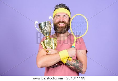 Man Bearded Hipster Wear Sport Outfit. Success And Achievement. Win Tennis Game. Win Every Tennis Ma