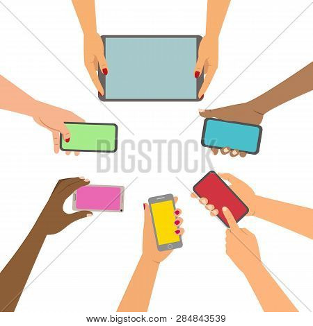 Mobile Application Concept, Hands Holding A Phones. Vector Illustration.