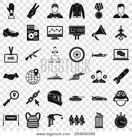 Great Victory Icons Set. Simple Style Of 36 Great Victory Vector Icons For Web For Any Design