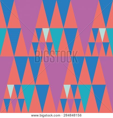 Bright Bunting Style Pink And Blue Triangle Design On Coral Colour Background. Seamless Vector Patte