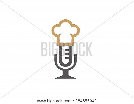 Microphone Or Speakerphone With Cooker Hat For Logo Design
