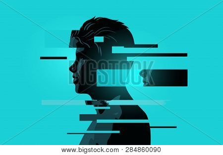 Image Of A Man With Glitch Fragments.mental Health Issues. Anxiety, Mindfulness And Awareness Concep