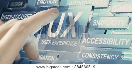 Woman Pushing A Glass Button For Testing Ux Parameters. User Experience Concept