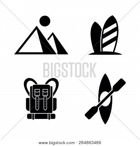 Active Tourism, Vacation. Simple Related Vector Icons Set For Video, Mobile Apps, Web Sites, Print P