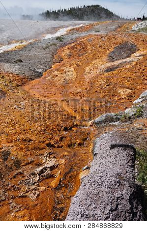 Solidified Rust Colored Mineral Deposits Among The Geyser Vapors And Run-offs At Yellowstone Nationa