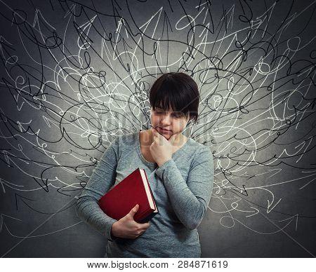 Upset Pensive Woman Student Holding Books, Thinking Eyes Closed. Sad Emotion, Unhappy Feeling, Diffi