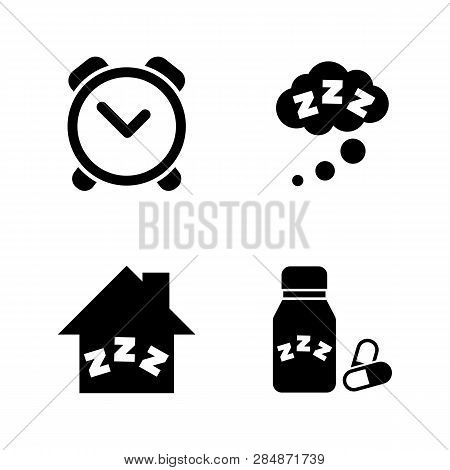 Time To Sleep, Hypnotic. Simple Related Vector Icons Set For Video, Mobile Apps, Web Sites, Print Pr