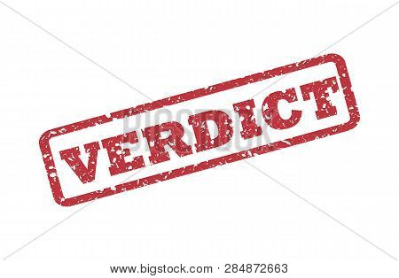 Verdict Text Seal Print With Corroded Texture. Text Title Is Placed Inside Corners. Blue Vector Rubb
