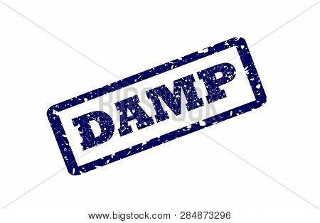 Damp Stamp Seal Print With Distress Texture. Seal Shape Is A Rounded Rectangle With Frame. Blue Vect