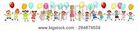 Joyful Little Children And A Teacher. A Group Of Happy, Smiling Children With Balloons. A Group Of C