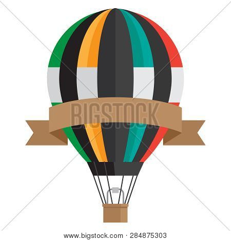 Vintage Style Aerostat With Ribbon Banner - Vector Hot Air Balloon Isolated On White Background. Ill