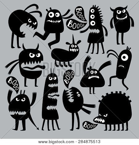 Abstract Kids Fear Monster Character. Black Silhouette Funny And Fear, Fun Halloween Spooky. Vector