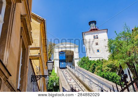 Funicular and Kula Lotrscak in Zagreb. One of many tourist attractions in Zagreb, Croatia. poster