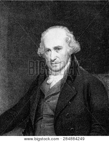 James Watt, inventor of the steam engine, vintage engraved illustration. From the Universe and Humanity, 1910.