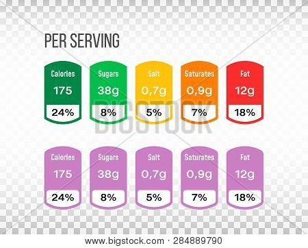 Nutrition Facts Label Set. Information Label In Flat Design On Transparent Background. Template For