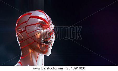 Glossy Woman Head Exploding Shuttered - Headache, Psycho Mental Problems, Split Personality Stress,