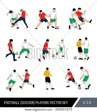 .football, Soccer Players Vector Set. Different Poses Of Players, Football Players In Motion: The St