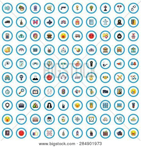 100 Antiterrorism Icons Set. Cartoon Illustration Of 100 Antiterrorism Vector Icons Isolated On Whit