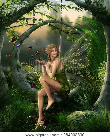 Beautiful Fairy Girl With Wings Playing With Butterflies In An Enchanting Fantasy Forest , 3d Render