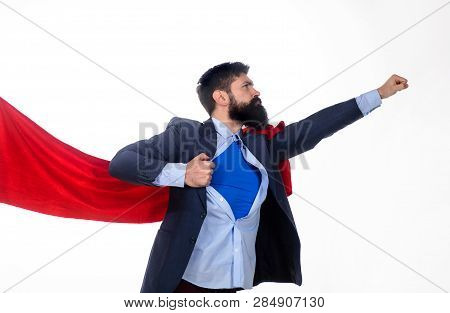 Business. Enthusiasm. Super Businessmen. Business Concept. Superhero In Red Cape Showing Blue Shirt.