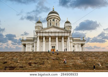 Helsinki, Finland - September 11 2018: Tourists Visiting The Senate Square, Standing On The Steps Of