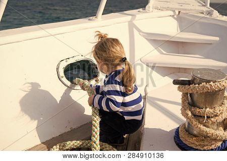 Discovery Concept. Little Child Enjoy Sea Travel On Ship, Discovery. New Discovery. Launch Out On A
