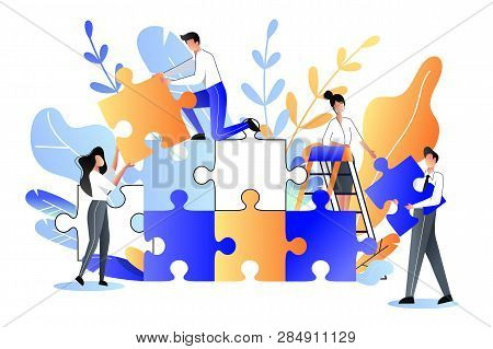 Young People Collect Multicolor Puzzle. Vector Flat Illustration. Development, Teamwork And Partners