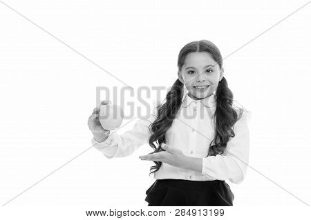Girl Cute Long Curly Hair Holds Apple Fruit White Background. Child Schoolgirl Holds Apple. Child Ki