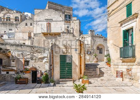 Matera, Italy - September 26 2018: A Picturesque Back Street In The Ancient City Of Matera, Italy, W