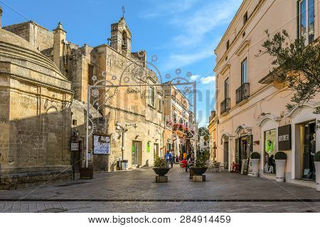 Matera, Italy - September 24 2018: Street Decorations Adorn Via San Biagio In The Town Of Matera, It