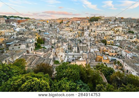 Late Afternoon View Of The Ancient, Medieval City Of Matera, Italy, An Unesco World Heritage Site, F