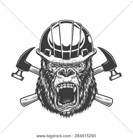 Ferocious Gorilla Head In Builder Helmet With Crossed Hammers In Vintage Monochrome Style Isolated V