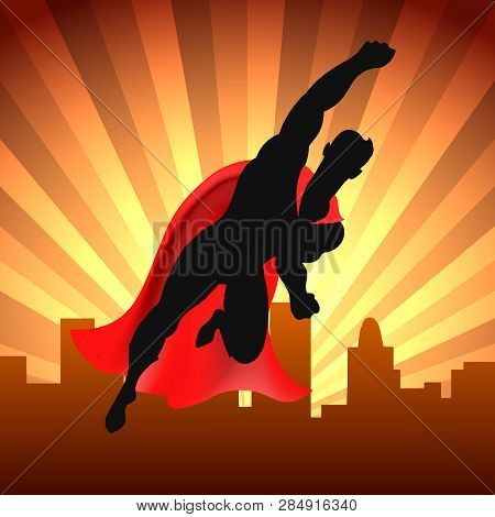 Superhero Over City. Red Cape Super Man Flying On Cityscape Background Comic Style Vector Illustrati