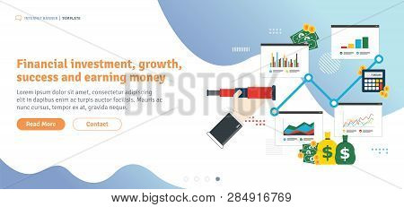 Financial Investment, Growth,  Success And Earning Money. Business Prediction And Vision Concept. Ha
