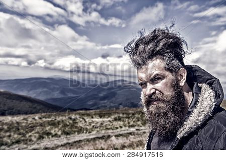 Man Bearded. Wanderlust And Hiking. Travel And Adventure. Man With Long Beard And Mustache Outdoor.