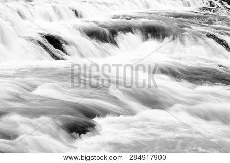 Water Stream Flow. Waterfall Nature Landscape. Tourist Destinations Concept. Waterfall Popular Touri