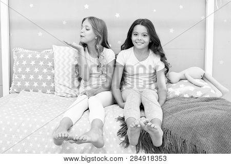 Childhood Friendship Concept. Girls Best Friends Sleepover Domestic Party. Girlish Leisure. Sleepove
