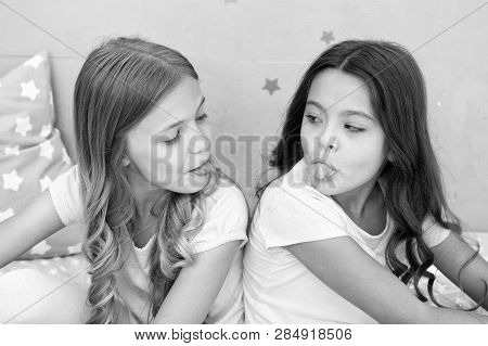 Children Show Tongue Each Other. Relations Sisters Or Best Friends. Overcome Relations Issues. Child